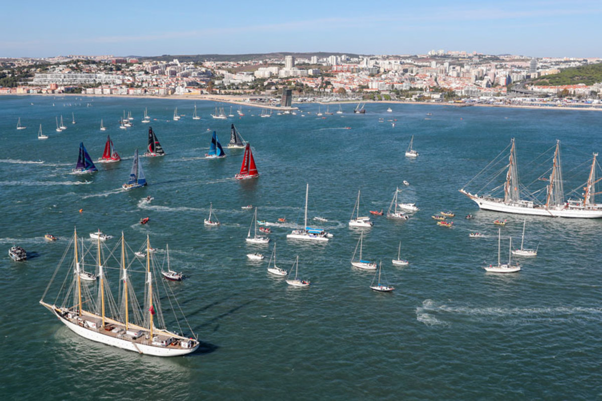 The Volvo Ocean Race is using Vesper Marine's Guardian AIS system for in-port races such as this one in Lisbon, Portugal.