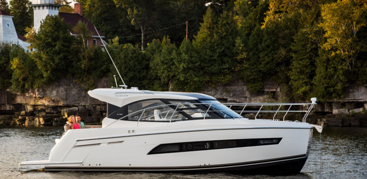 Registrations of new cruisers grew 9.6 percent in November. This is the C34 Coupe by Carver Yachts.