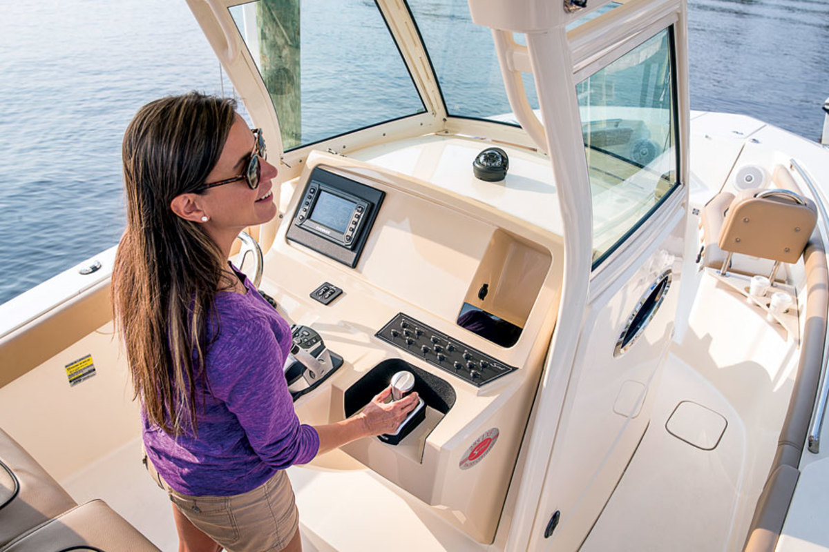 A joystick system such as Evinrude's iDock makes it much easier to maneuver a boat.