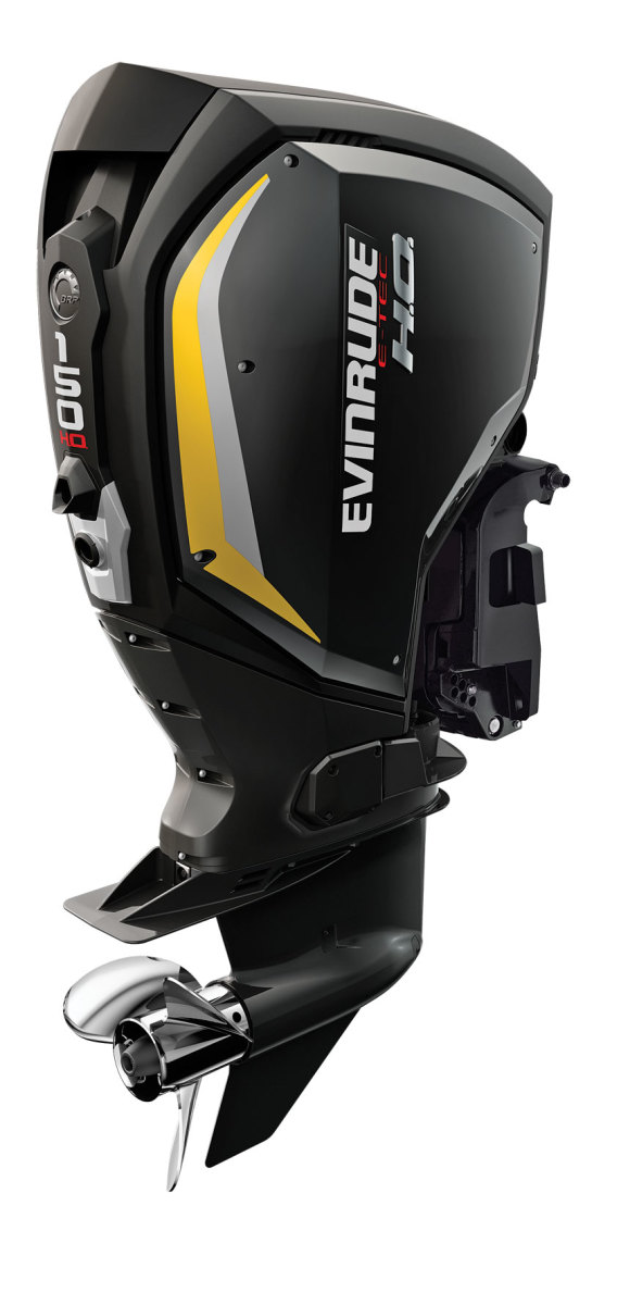 Evinrude's E-TEC G2 series in black panels with yellow accents.