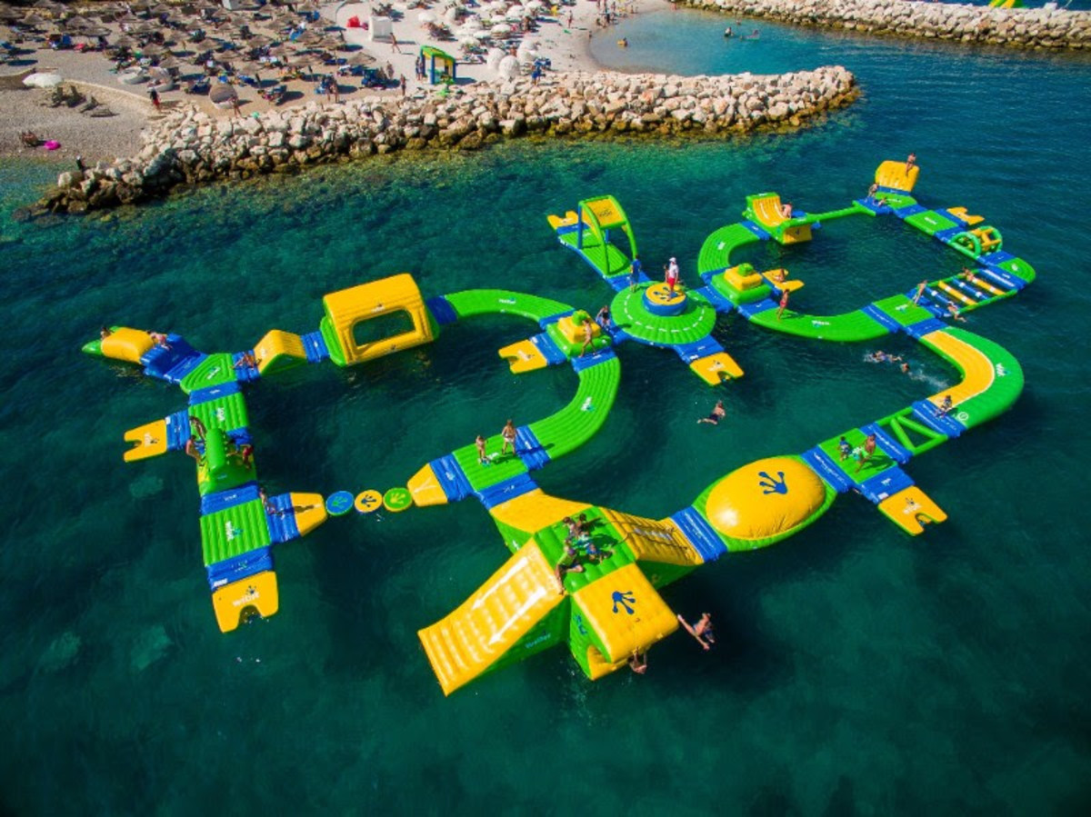 The Aquapark has a modular series of interlocking climbing obstacles, pathways, slides and trampolines.