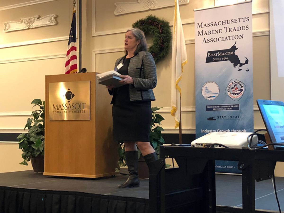 Lawyer Jamy Buchanan Madeja addresses the uncomfortable yet timely topic of sexual harassment and assault on Thursday during a Massachusetts Marine Trades Association conference.