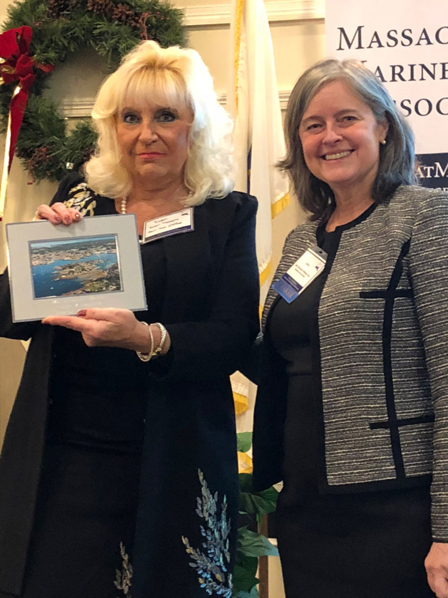 Karen Tibbets (left) accepted the Legislator of the Year Award on behalf of state Sen. Bruce Tarr, R-Mass. The award was presented by lawyer Jamy Buchanan Madeja, who addressed the conference on the topic of sexual harassment.