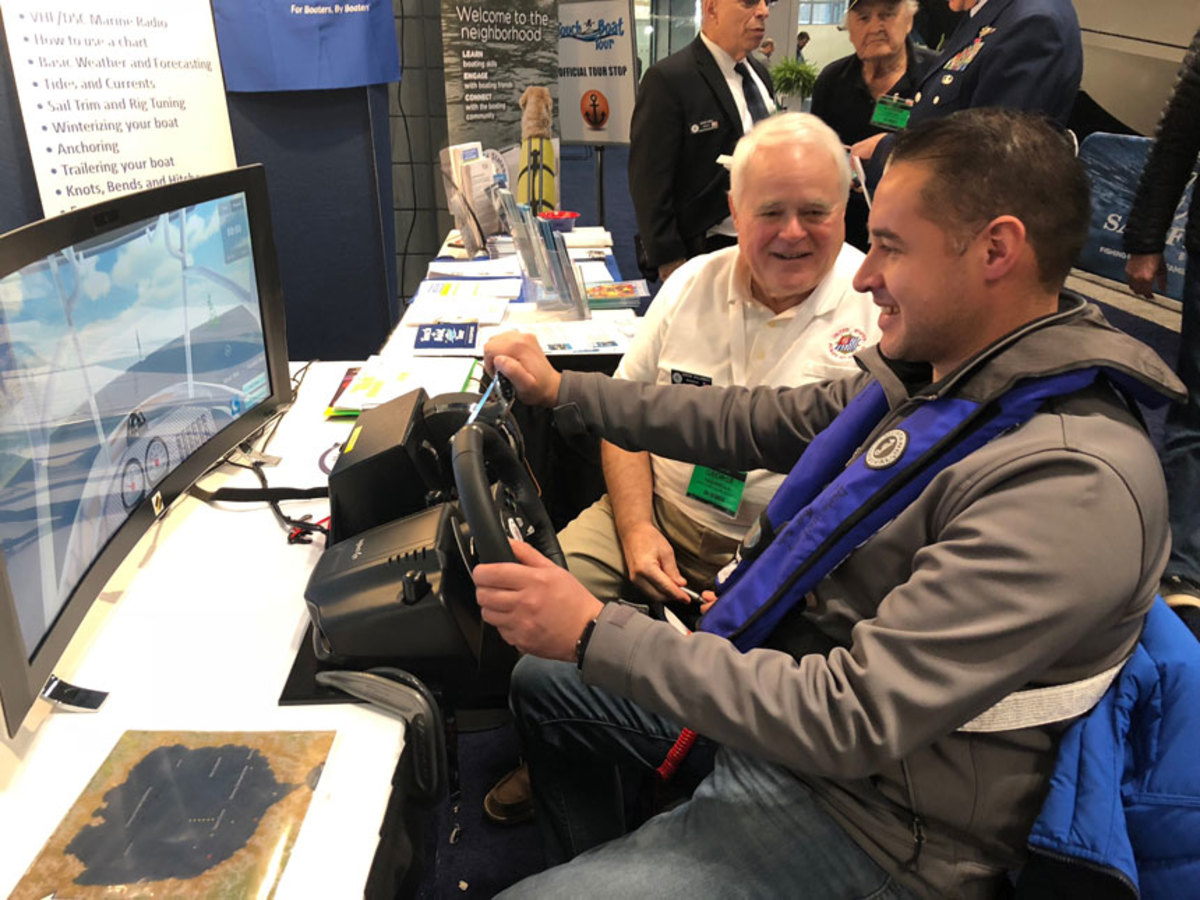 The U.S. Power Squadron gave virtual lessons to attendees who wanted to take a shot at the helm.