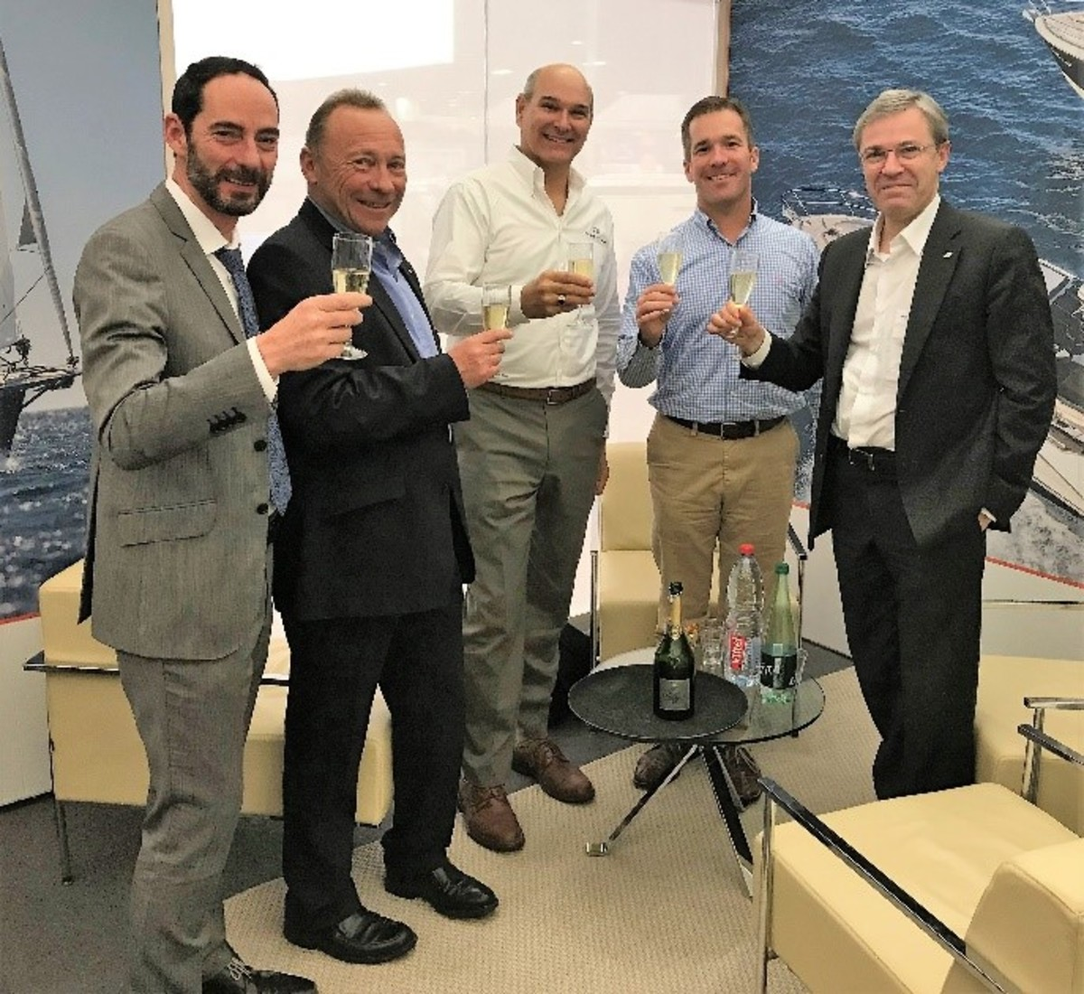 (From left) Groupe Bénéteau boat division business development director François Rodrigues, Jeanneau CEO Jean-Paul Chapeleau, FBC business development vice president Barry Slade, FBC president and CEO John Giglio, and Groupe Bénéteau CEO Hervè Gastinel.