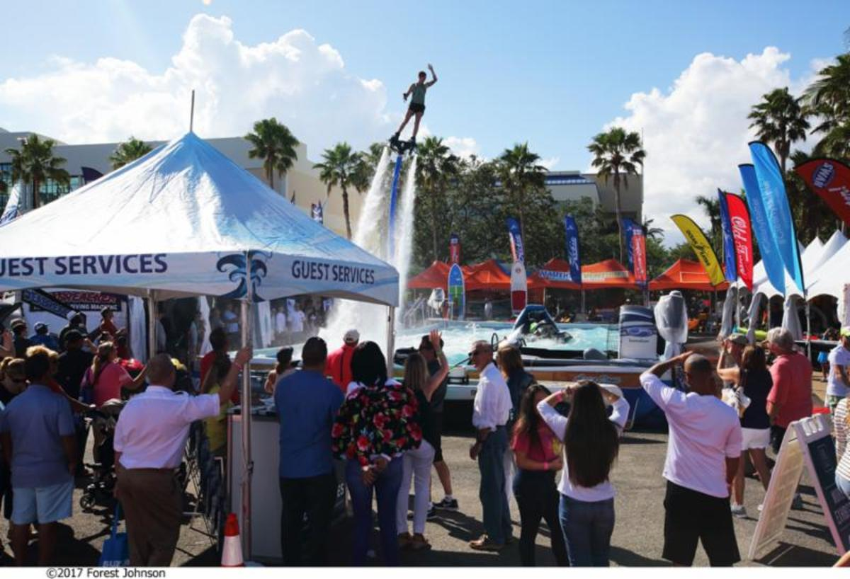 Demonstrations of gear like this flyboard will take place during the Miami Yacht Show at the AquaZone near 47th Street.