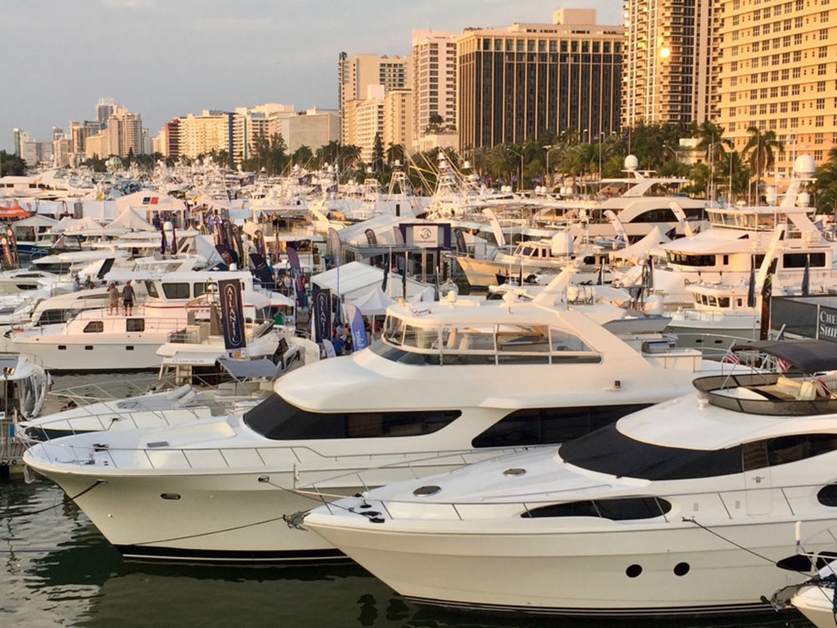 The Miami Yacht Show on Collins Avenue features new and brokerage yachts.