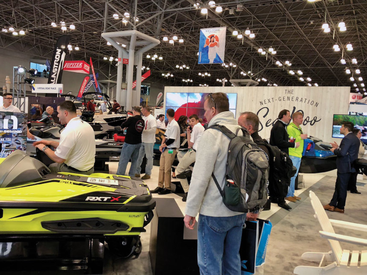 Show attendees were enthusiastic about the new personal watercraft and boats on display.