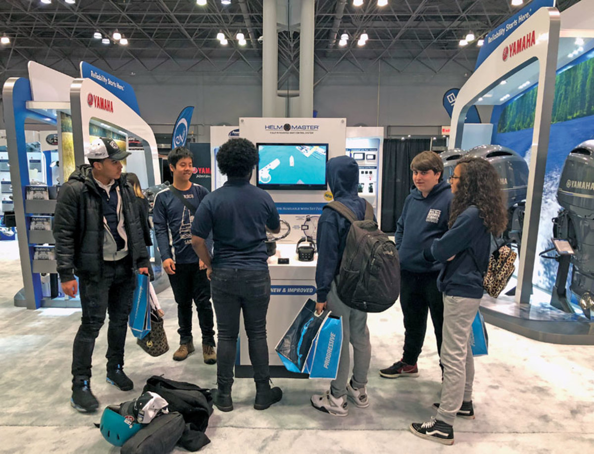 Teenagers were intrigued by Yamaha's Helm Master display.