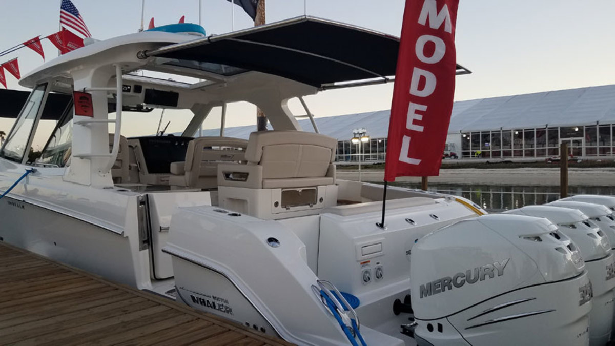 SureShade's latest product is featured on two new boat model debuts at the Miami International Boat Show, including the Boston Whaler Realm.
