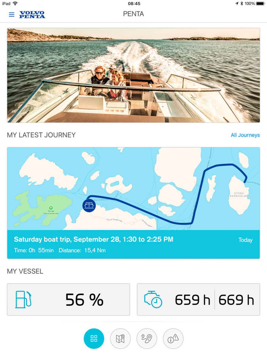 The new Volvo Penta Easy Connect app shows engine, boat and route data on a smart phone.