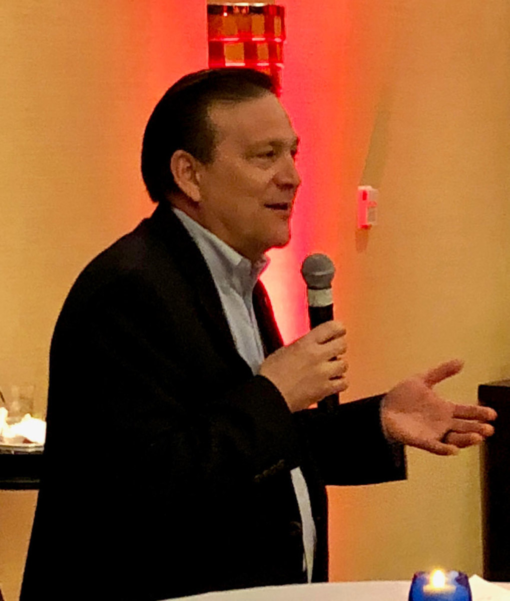 Yamaha Marine president Ben Speciale addressed media at a dinner during the Miami International Boat Show Thursday night.
