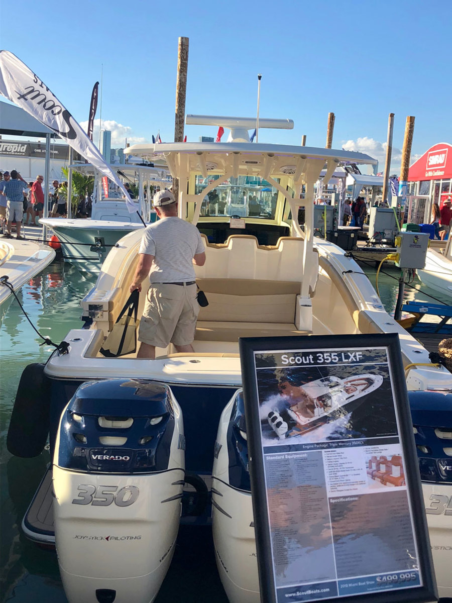 Scout's new 350 LXF at the Miami International Boat Show. Scout Boats was highlighted by Gov. Tim Scott, R-S.C., during testimony on the Hill last week.