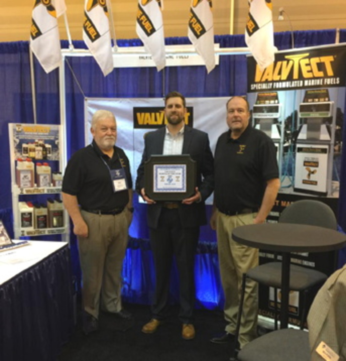 L-R, Paul Craufurd, ValvTect regional sales manager, Brian Kaloper, general manager, Grand Isle Marina and Marvin Griffin, president ValvTect Petroleum Protect
