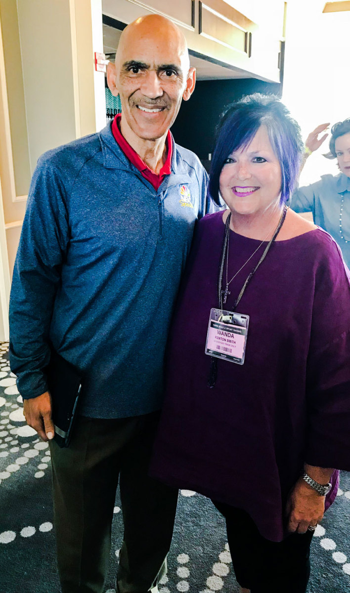 Former Indianapolis Colts head coach and Super Bowl champion Tony Dungy and Wanda Kenton Smith, who delivered the opening prayer at Regal Marine Industries' luncheon.