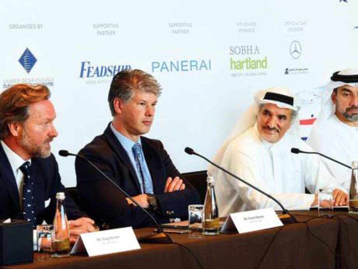 From left: Greg Stinner, CEO of ART Marine, Erwin Bamps, CEO of Gulf Craft, Saeed Hareb, Secretary General of Dubai Sports Council and Mahir Abdulkaim Julfar, Senior Vice President Venues Services Management of Dubai World Trade Centre during the press conference for the Dubai International Boat Show.