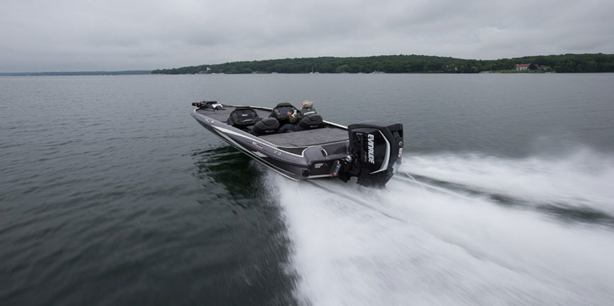 Evinrude's E-TEC series outboards are popular on bass boats and other models where weight is emphasized.