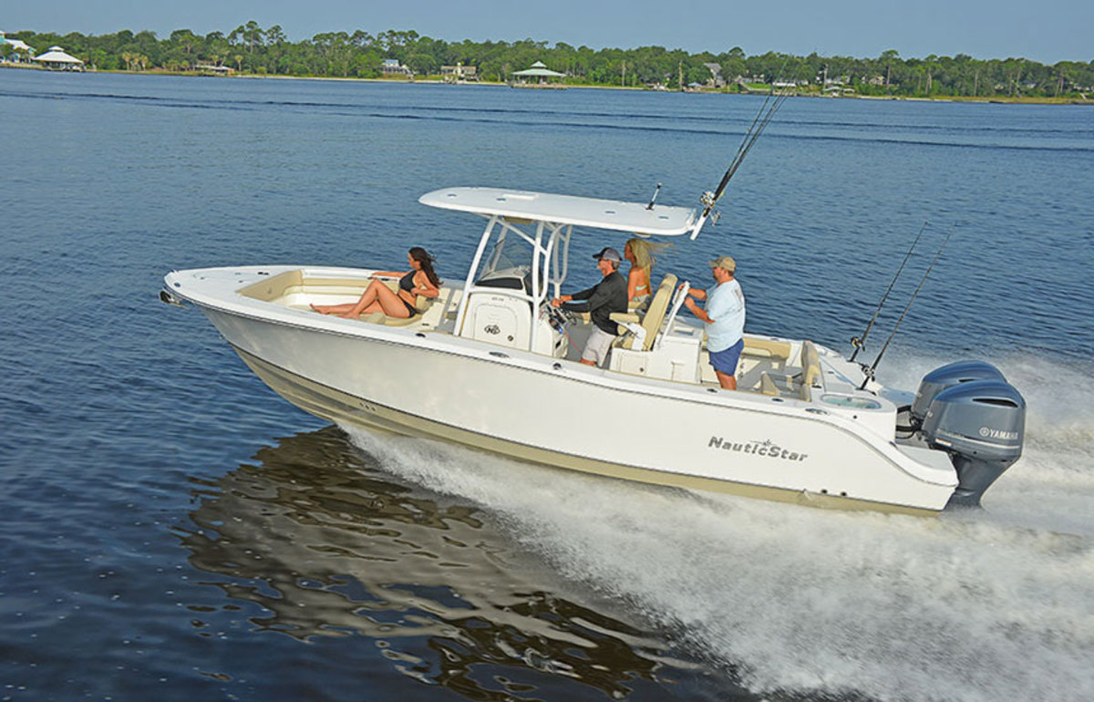 The NauticStar 28 XS was busy taking prospective buyers on sea trails at the Miami International Boat Show last week.