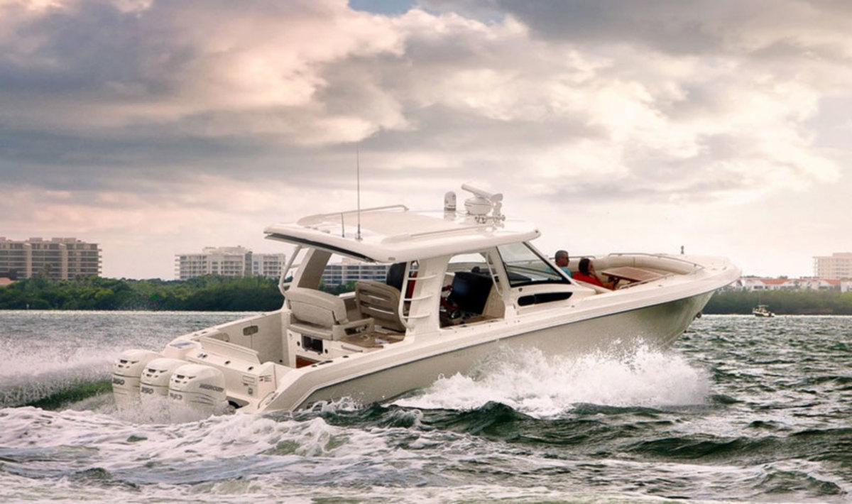 Brunswick Corp. will focus exclusively on its marine brands — including Mercury Marine and Boston Whaler — now that it is spinning off its fitness division. Shown here is the new Boston Whaler Realm 350 with triple 350-hp Mercury Verado engines.