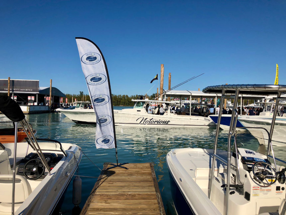 The docks at MIBS were full of boats ready to take visitors and potential buyers out on sea trials.