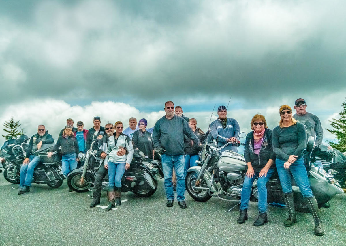 A partial tour group shot high in the clouds at Clingman's Dome.