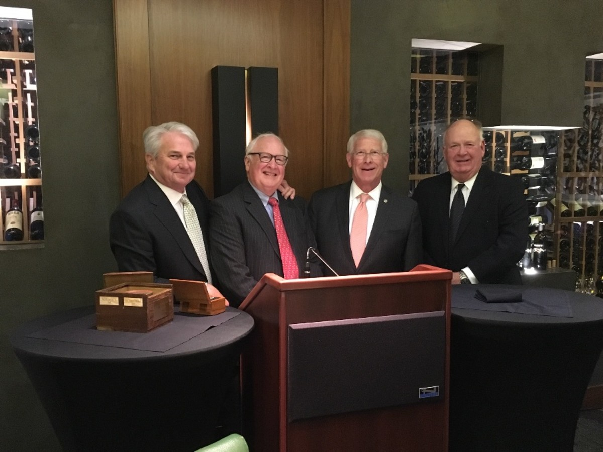 Senator Roger F. Wicker (third from left) receives the Jack Lawton Jr. Conservation Award, presented by Jack Lawton Jr., founding chairman of CSP; Bob Hayes, chairman of CSP; and Manning McPhillips Jr., a founding member of CSP.