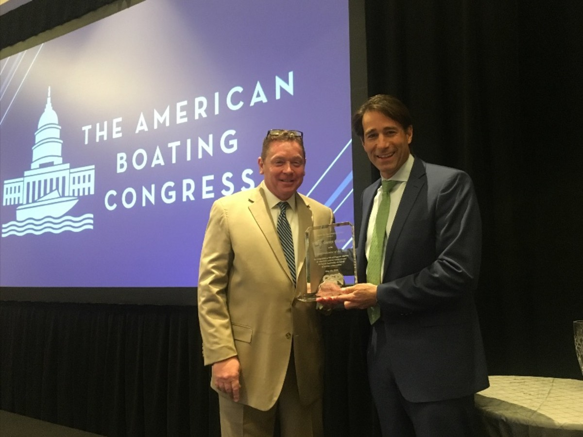CSP president Jeff Angers presents Congressman Garret Graves (R-La.) with CSP's Conservationist of the Year Award.