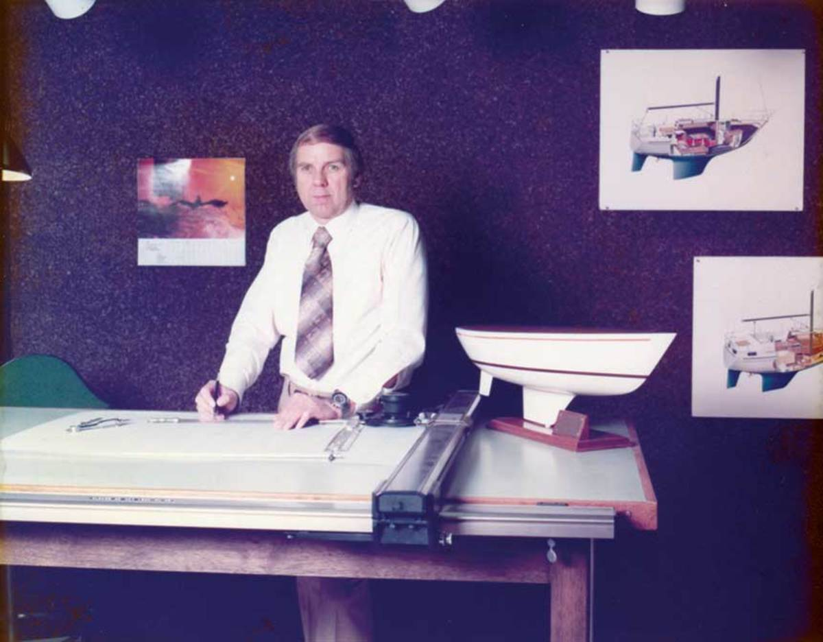 Leon at the drawing board of S2, which built sailboats and Tiara models in the 1970s.
