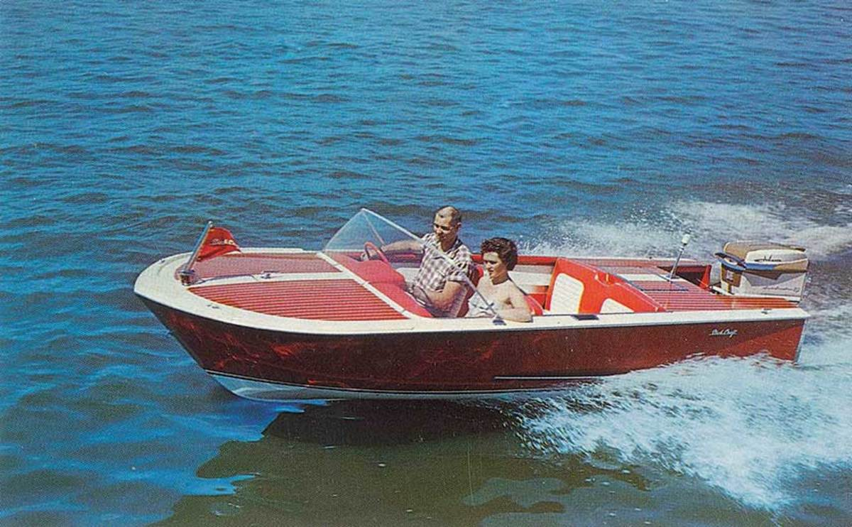 Leon and his wife, Delores, in one of his early Slickcraft models.