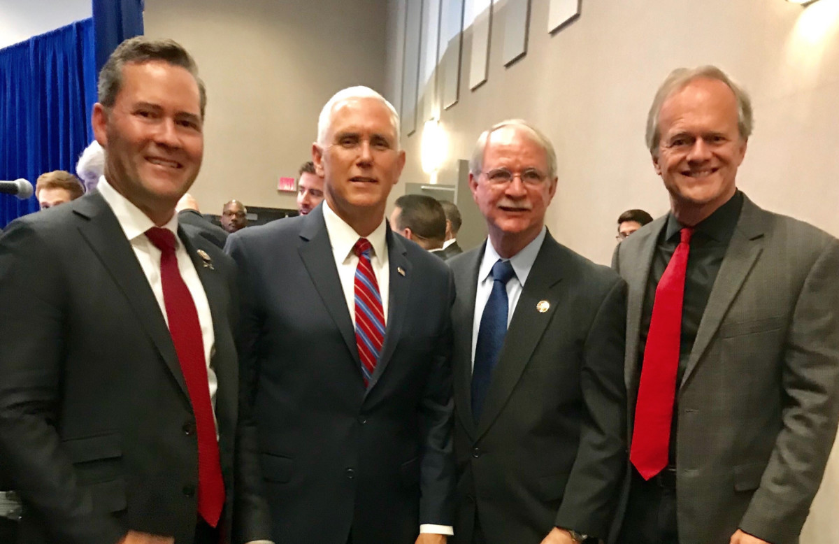 From left to right: Rep. Michael Walz, R-Fla., Vice President Mike Pence, Rep. John Rutherford, R-Fla., and Correct Craft CEO Bill Yeargin.