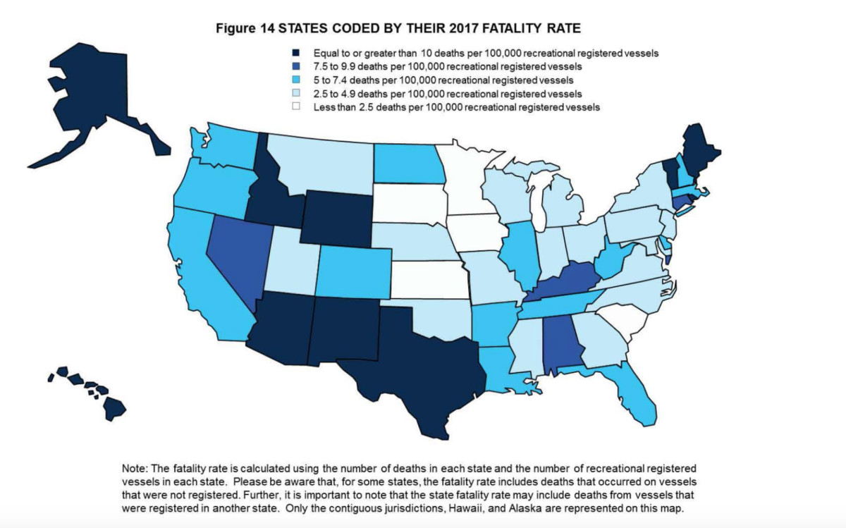 States coded by their 2017 fatality rate.
