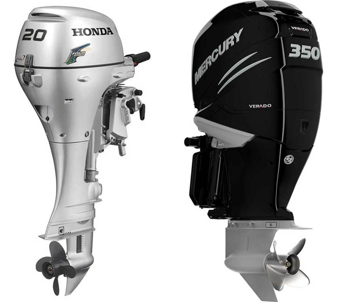The BF20 was part of Honda's original 4-stroke outboard line; the Mercury 350 Verado was the first in a supercharged series.