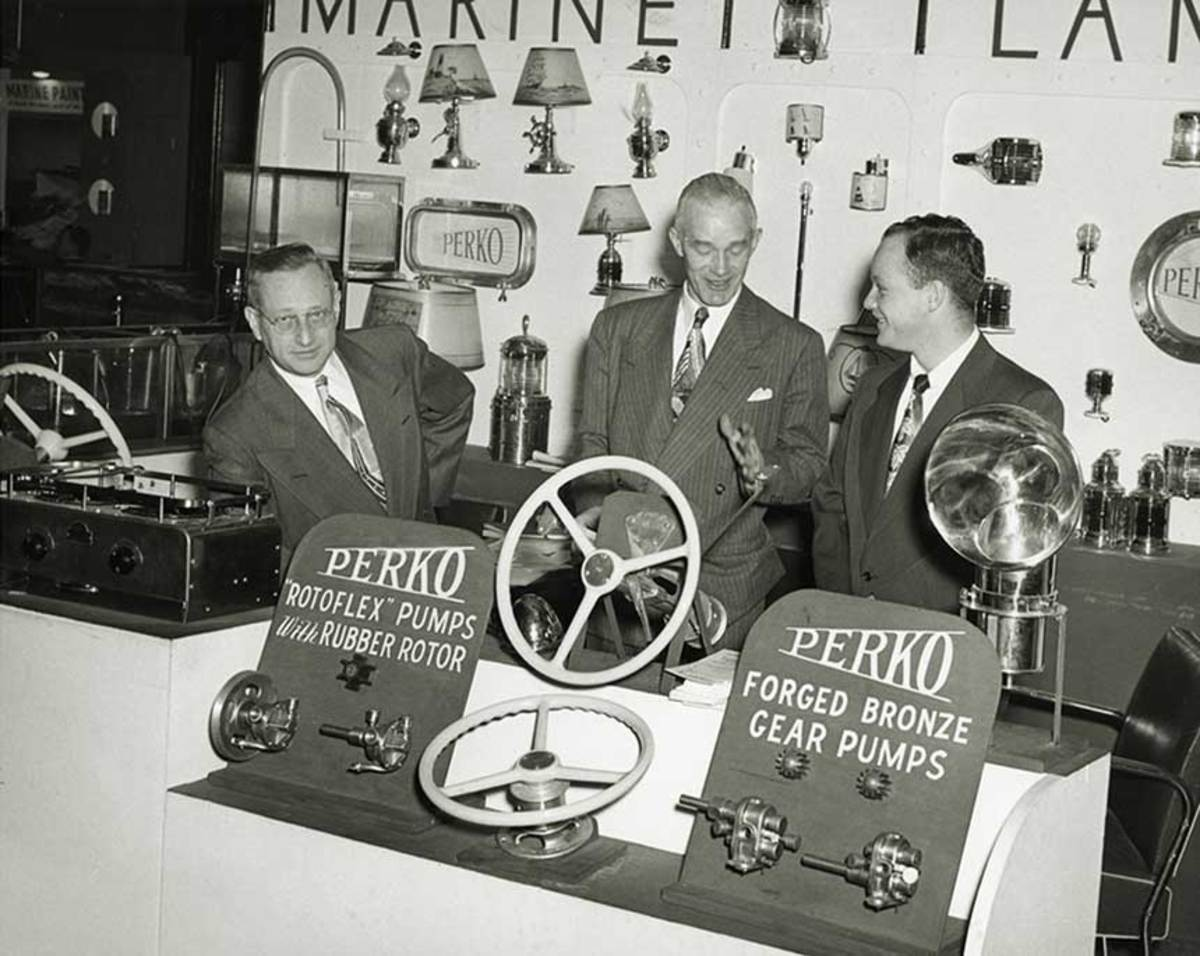 1940's-Boat-Show-Louis-Perkins,-Bill-Murphy-and-Marvin-Perkins
