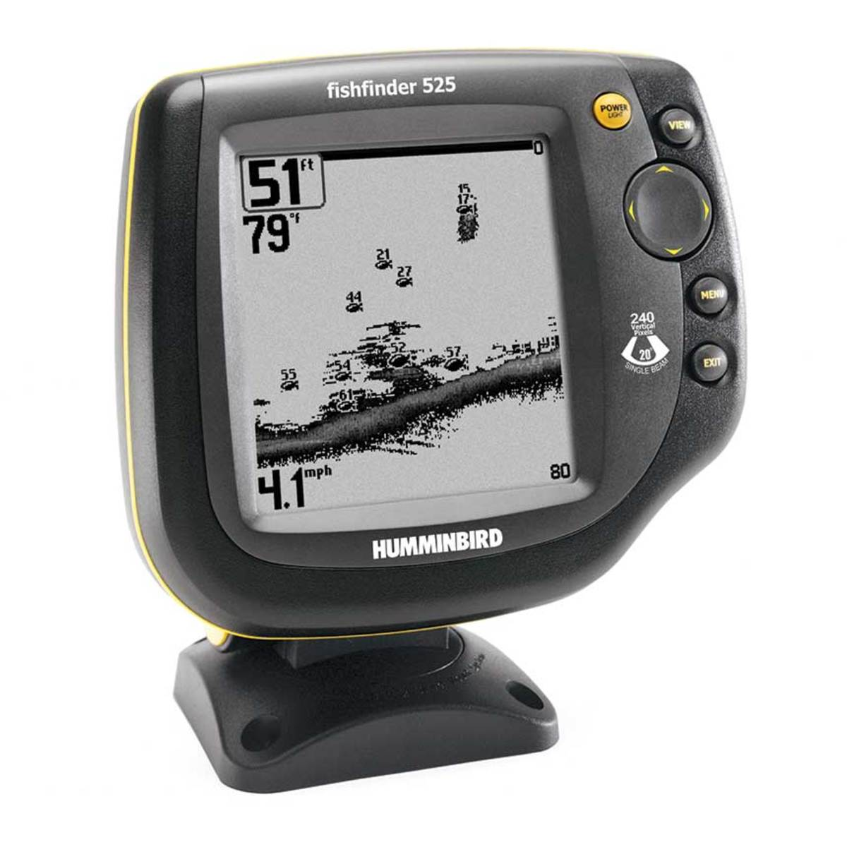 Electronics have advanced from Humminbird's Fishfinder 525, introduced in the 1980s, and the FR1211 radar from Furuno. The Furuno's CRT tube forced the boater to look down into it.