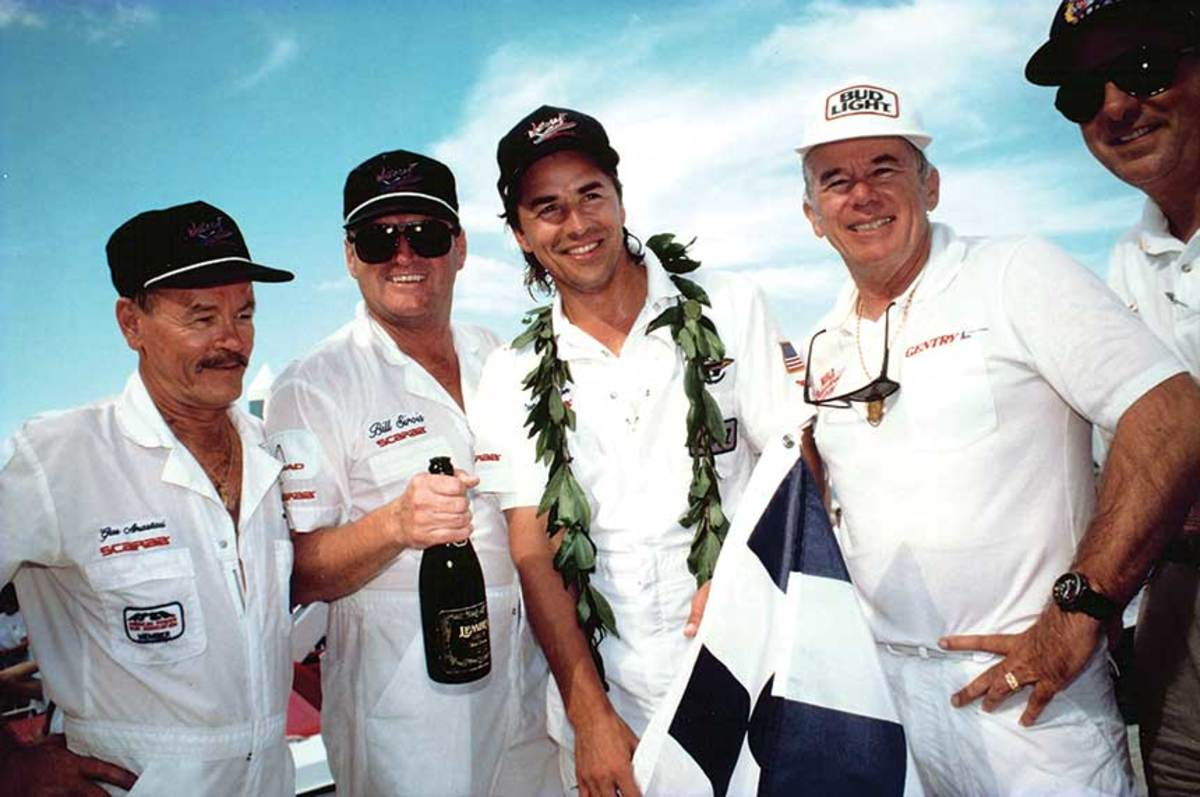 Don Johnson (center) became the poster child for the fast, exciting boating lifestyle of the 1980s. Johnson celebrates after winning a world championship in 1989.