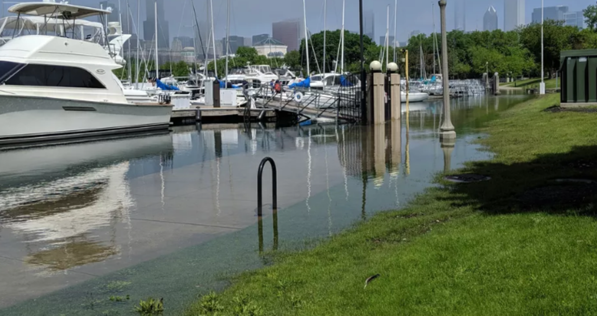 High water in Chicago marinas is forcing local officials to relocate boats. Photo by Dale Bowman, Chicago Sun Times.