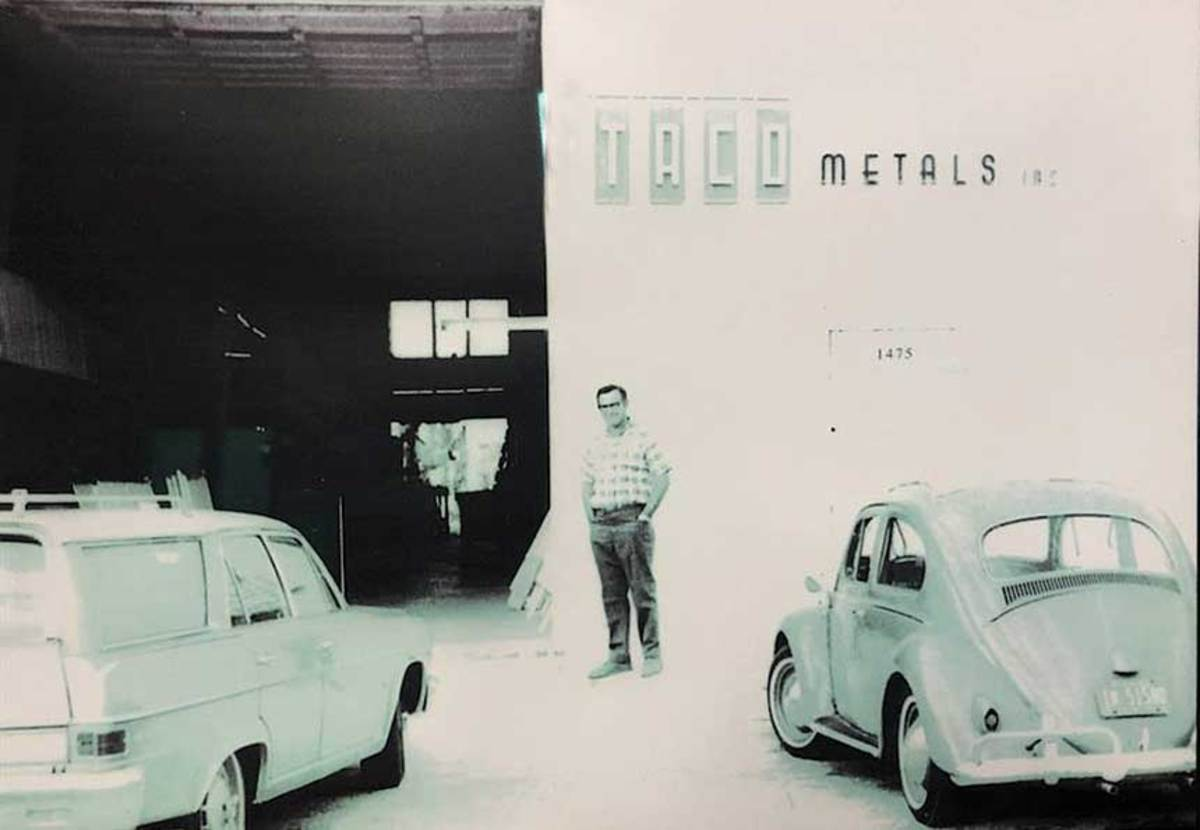 """Dave Kushner in front of """"the shop,"""" as he called TACO's production facility in Miami."""
