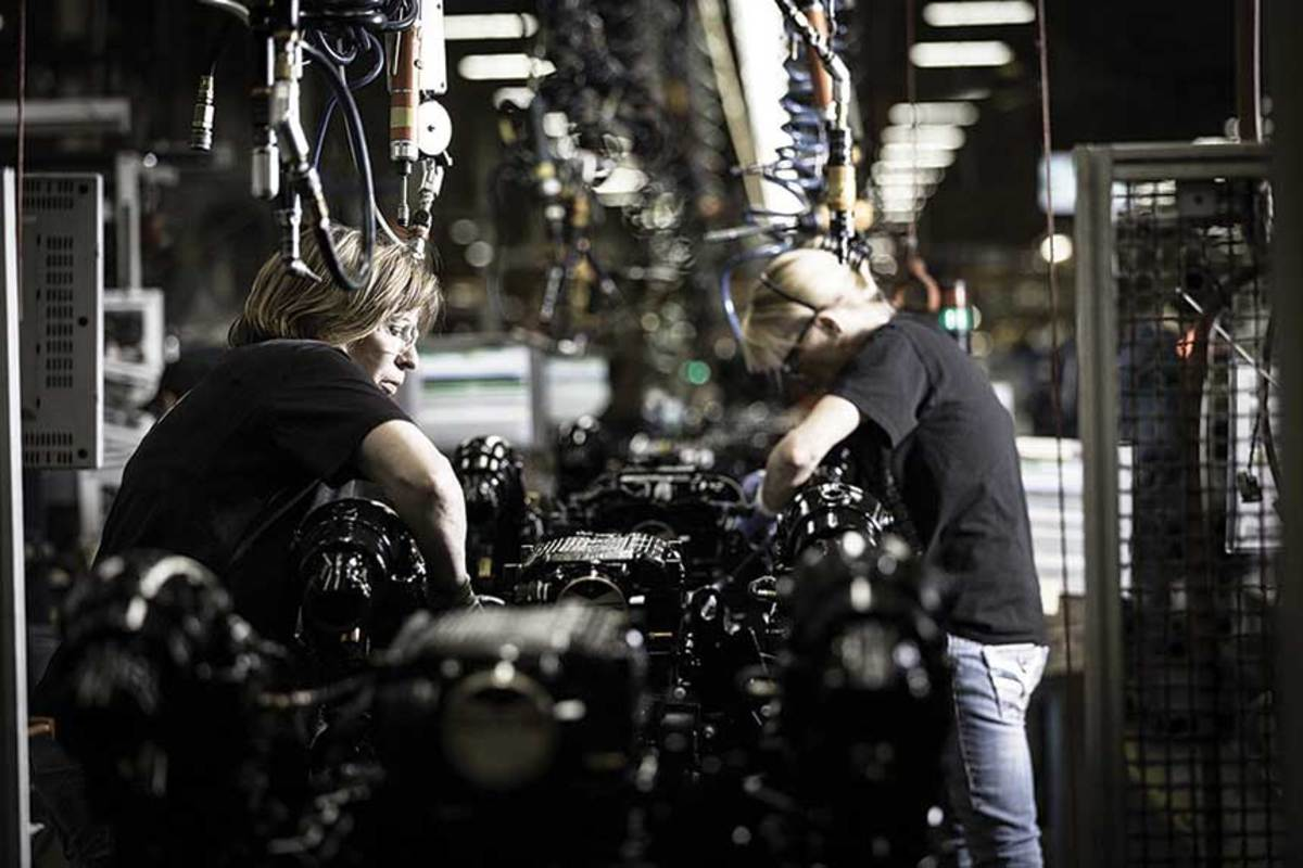 Almost half of the workers on the production lines  of Mercury Marine's  assembly plant are female.