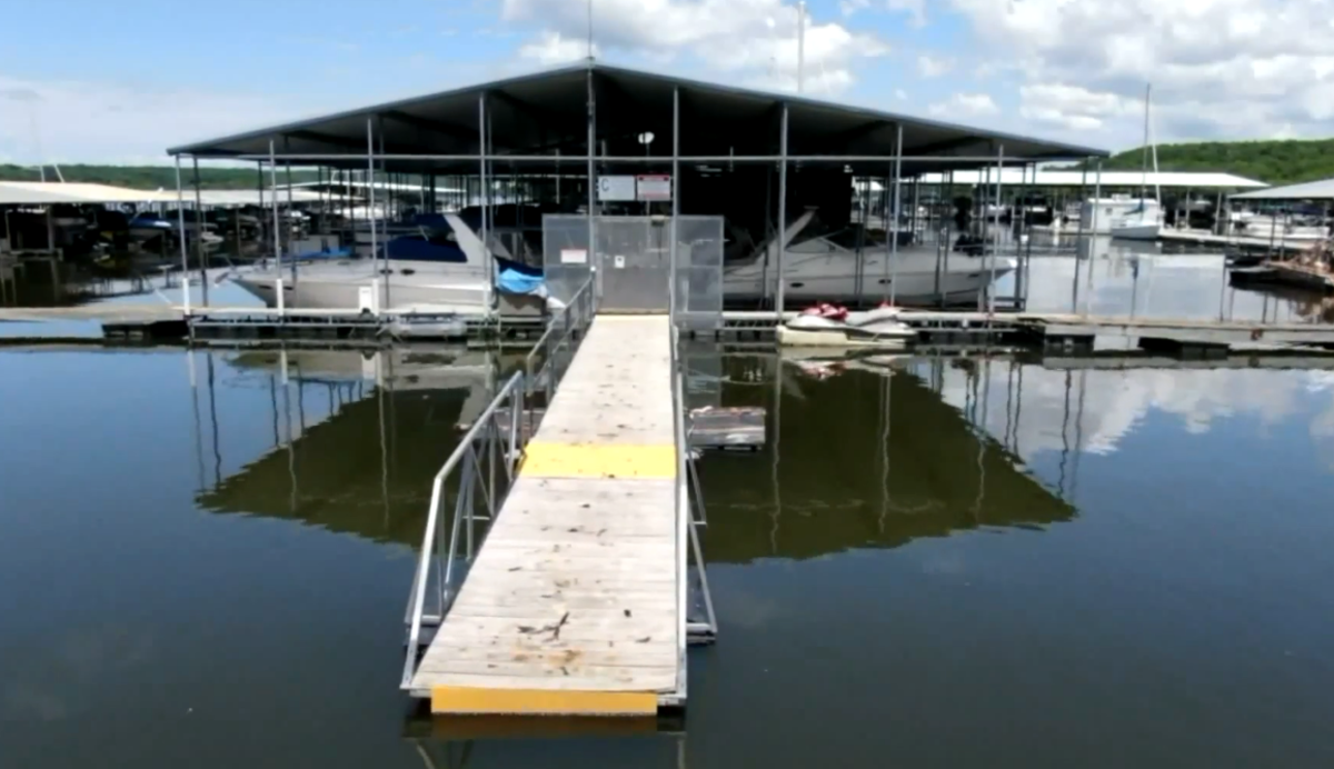 Gangways at Lake Perry Marina are above horizontal to the docks because of high water levels.