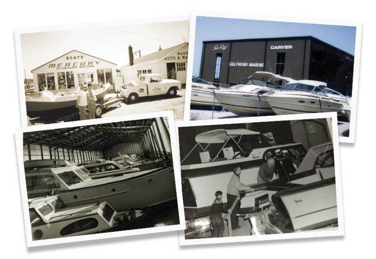 A retailer evolution: Nauset Marine (top left), started in 1961, is facing a skilled worker shortage; Bill McGill's Gulfwind Marine (top right) was the forerunner of MarineMax; Petzold's Marine (bottom images) launched in 1945 in Connecticut and is run by the third generation of the Petzold family.