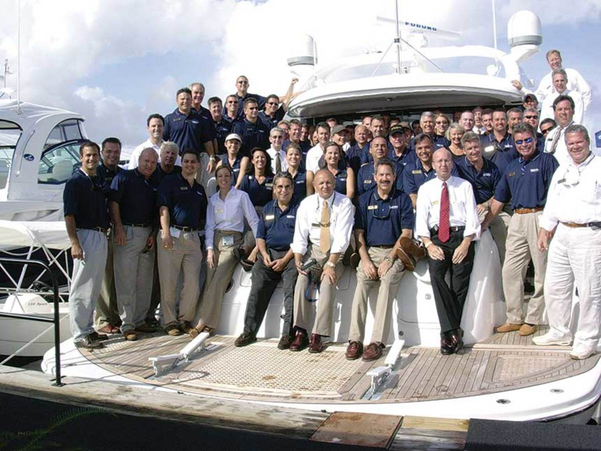 It takes a village:  MarineMax staff aboard a brokerage yacht.