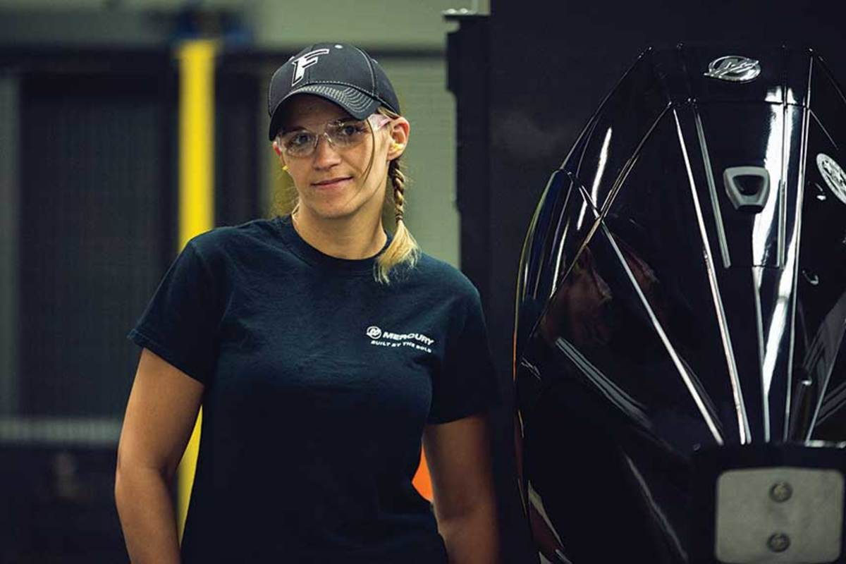 Assembly tech Kirbi Perkins is part of Mercury's younger- generation workforce.