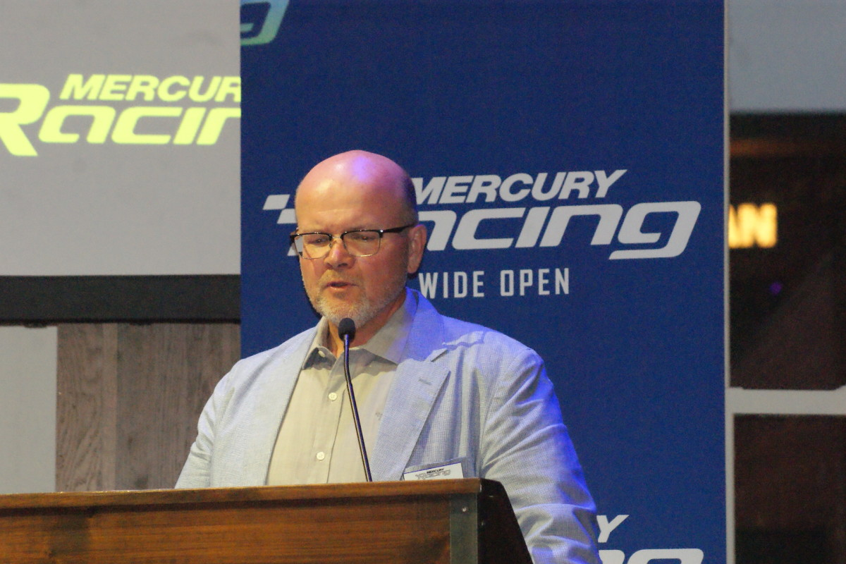 Mercury Racing general manager Stuart Halley introduces the 450R.