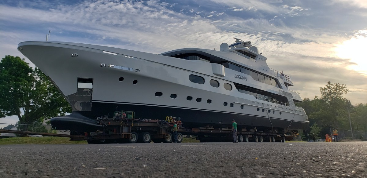 The 50-meter Jackpot will be the last yacht completed at the Washington state facility.