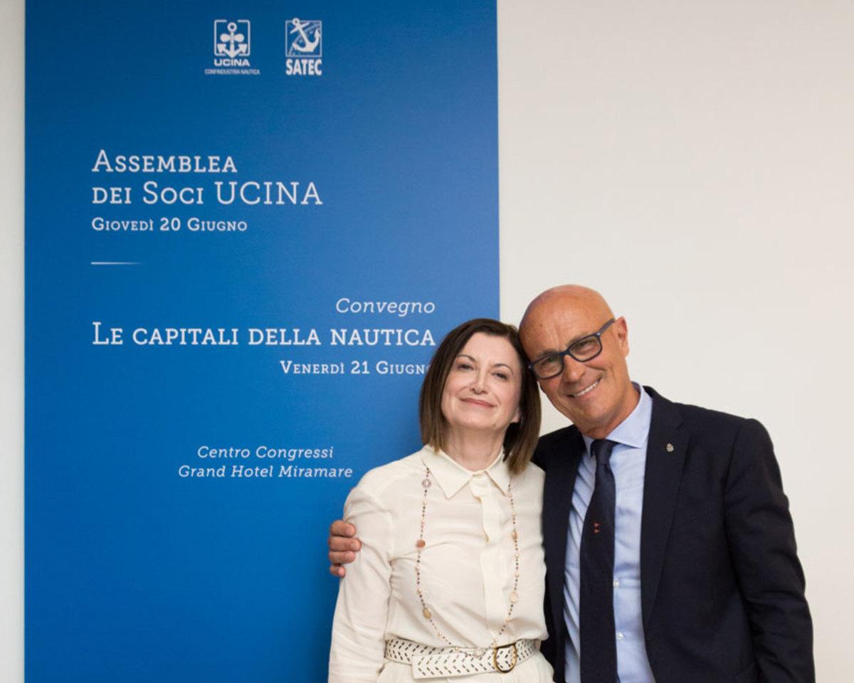 Outgoing president Carla Demaria and incoming president Saverio Cecchi