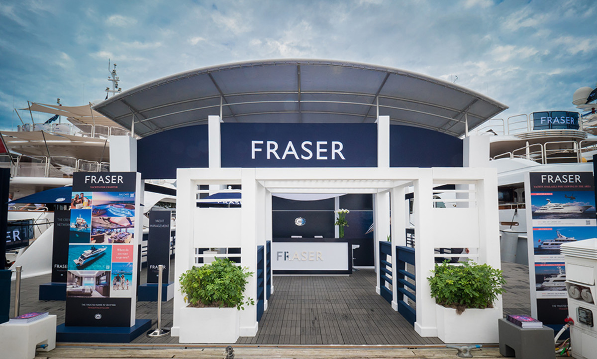 Fraser Yachts booth at the Fort Lauderdale International Boat Show.