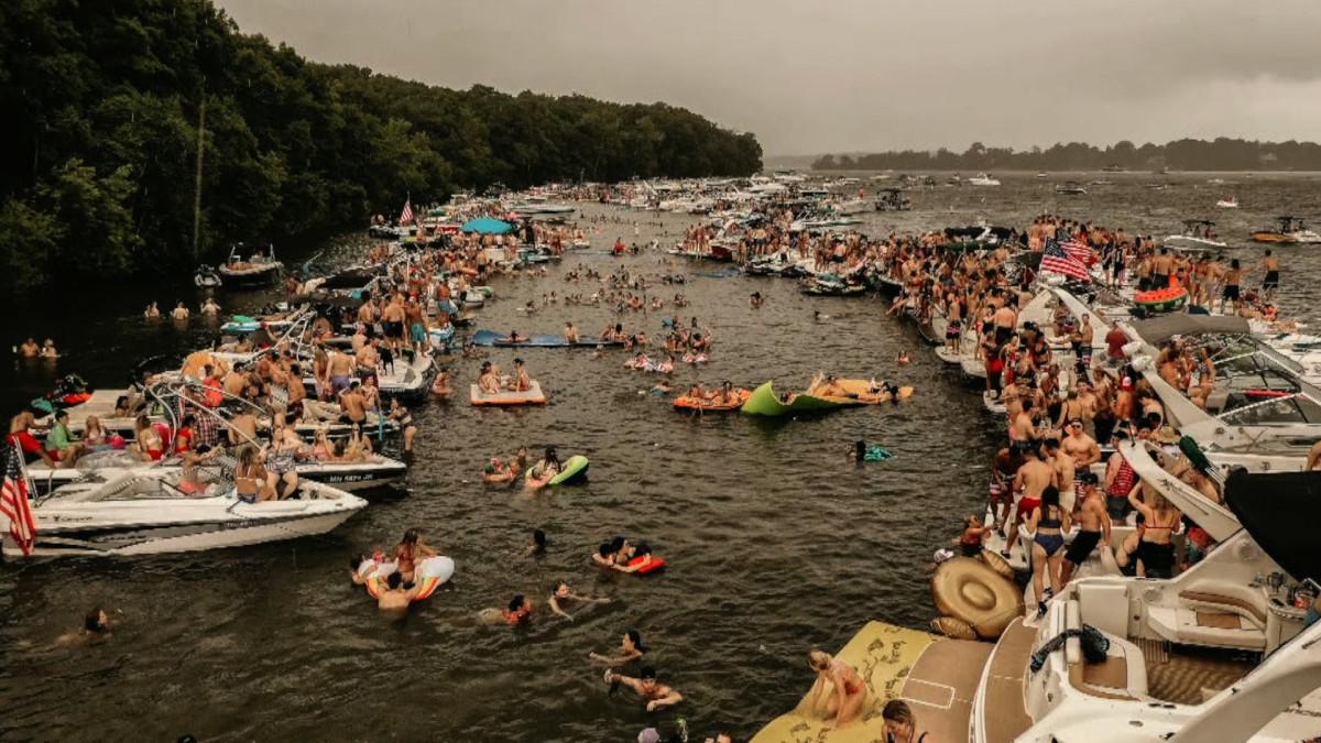 Big Island is one of the most popular raft-up areas on Lake Minnetonka.