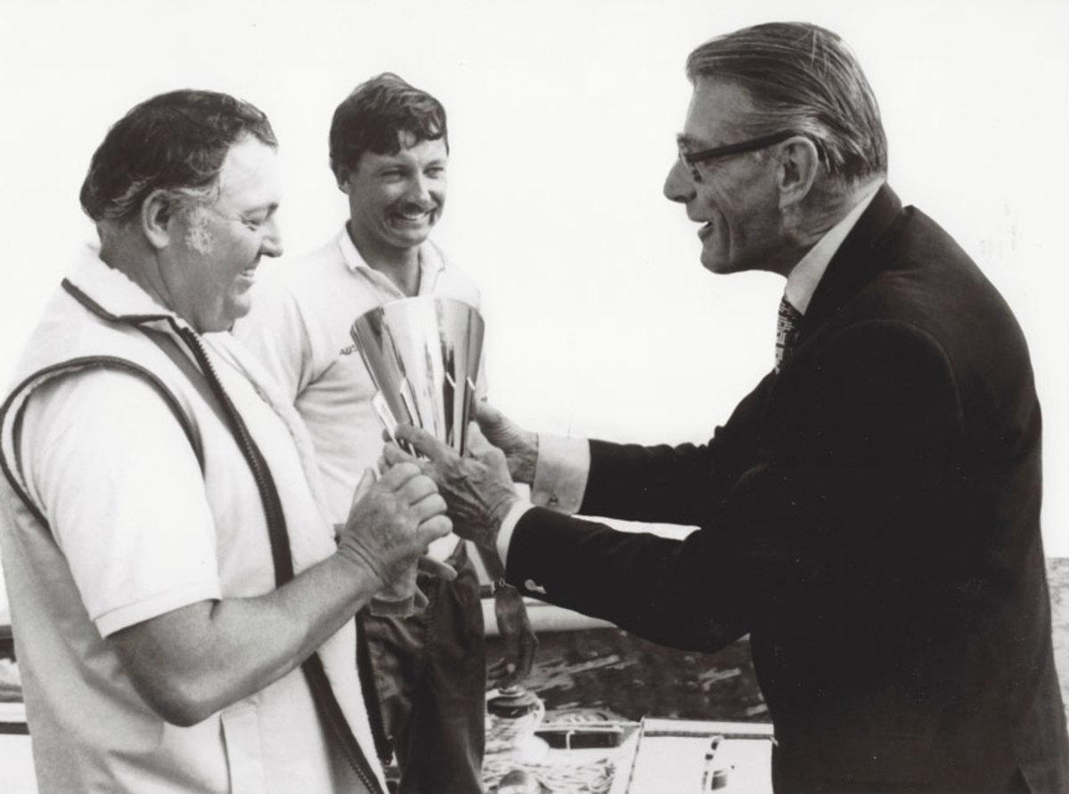 Henry Racamier presents the Louis Vuitton Cup.