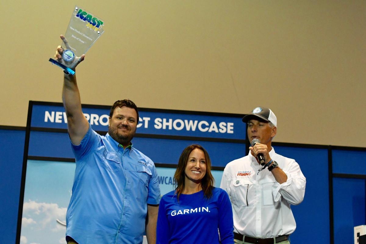 Garmin's David Dunn and Carly Hysell, along with Glenn Hughes, president of the American Sportfishing Association.