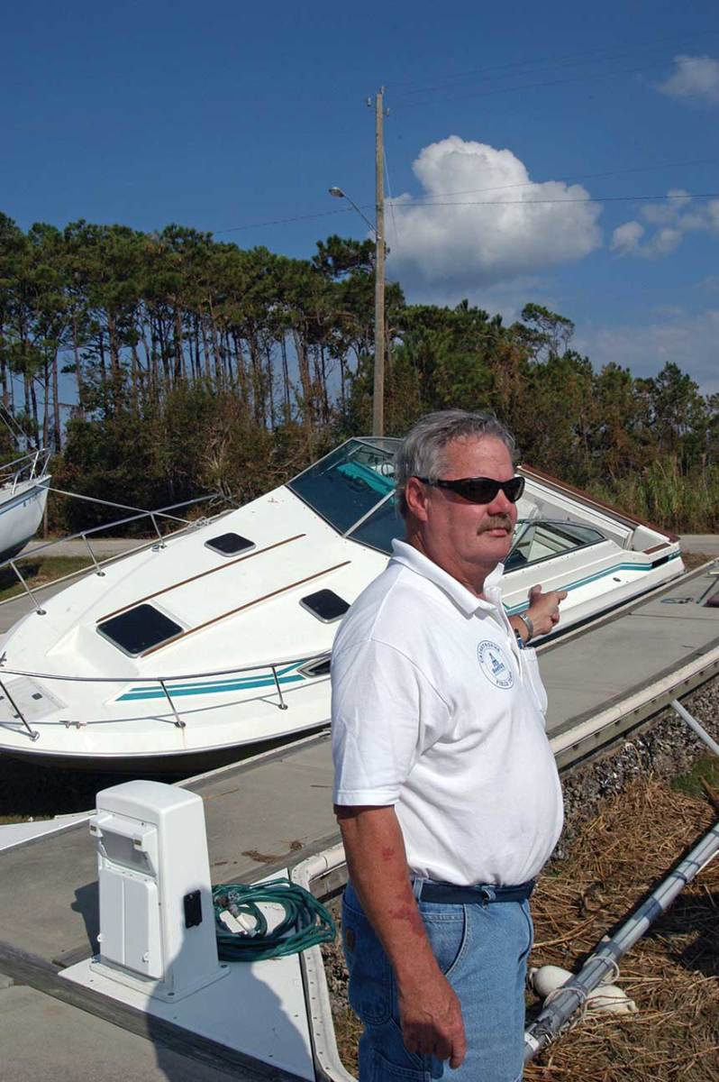 """Who would expect a boat to end up in a football field 800 yards from the marina?""  - Mike McCook"